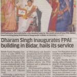 Dharam Singh inaugurates FPAI building in Bidar